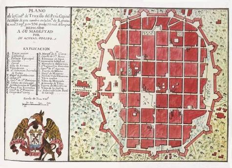 Plano de la antigua ciudad de Trujillo amurallada