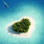 Vista aérea de la isla con forma de corazón.